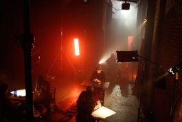 Kino Flo and Dedolight LED lights lighting music video set, red colour RGB