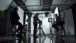 kino flo led lighting test in professional video photography studio colorama background