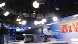 Kino Flo lights lighting television set