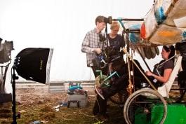 dedolight soft light with soft box on film set