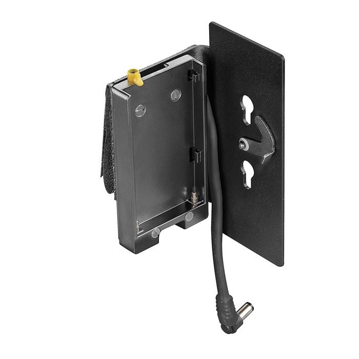 Belt adapter for 7,2V NP-F batteries with holding plate for DT2.x-BAT/-BI-BAT power supplies