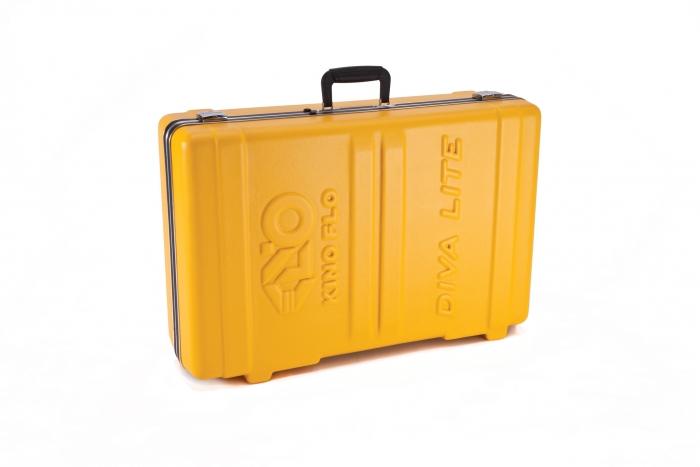 Kino Flo Diva Lite LED hard clamshell yellow travel case