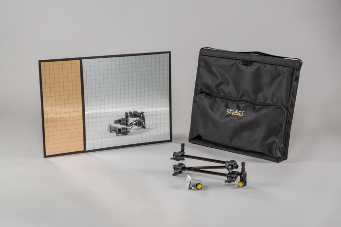 Large EFLECT kit in soft case with multi-mirror #2 in silver and gold Dedolight crls led lighting