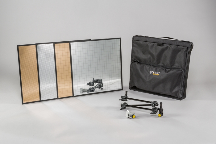 Large EFLECT kit in soft case with multi-mirrors #1 and #2 in silver and gold dedolight lightstream